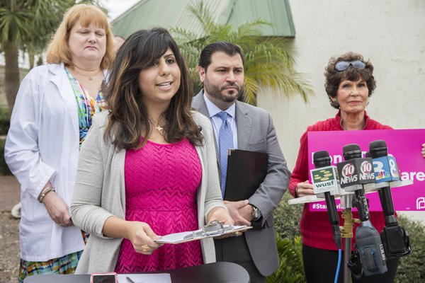 Anna Eskamani, Director of Public Policy and Field Operations of Planned Parenthood of Southwest and Central Florida, met with supporters Thursday outside the office of Sen. Kelli Stargel, R-Lakeland.