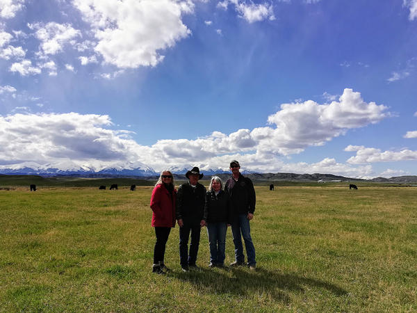 Left to right: Lill Erickson, Roger and Betsy Indreland and Chris Mehus on the Indreland Ranch north of Big Timber, MT, May 09, 2019.