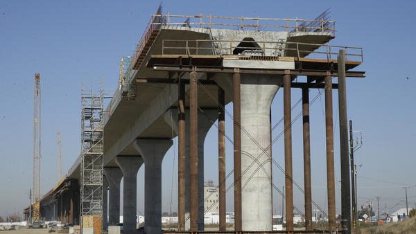One of the elevated sections of the high-speed rail under construction in Fresno, Calif., seen in 2017. The Trump administration announced on Thursday that it will pull federal funding from the multibillion-dollar project.