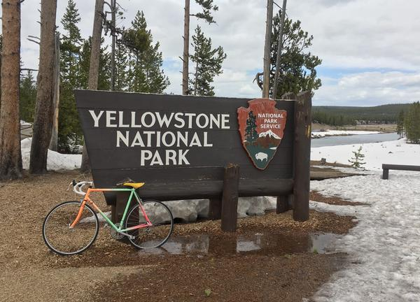 Springtime biking in Yellowstone can still mean snowby conditions.