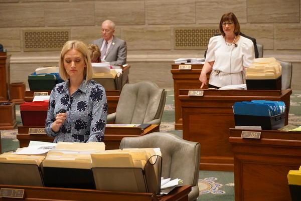 Sens. Lauren Arthur, D-Kansas City, and Jill Schupp, D-Creve Coeur, speak on the Missouri Senate floor on May 15, 2019. Both senators are against legislation that would substantially restrict abortion.