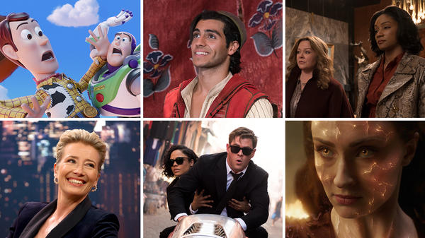 (Clockwise from top left) <em>Toy Story 4,</em> <em>Aladdin, The Kitchen, </em><em>Dark Phoenix, Men In Black: International, Late Night.</em>
