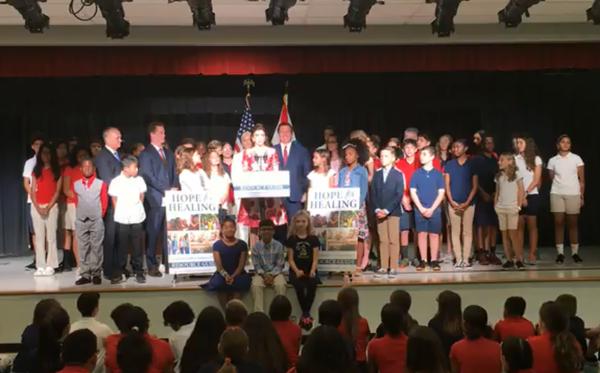 Casey DeSantis, Gov. Ron DeSantis' wife, announced a new mental health initiative Thursday morning at Roland Park K-8 Magnet School in Tampa.