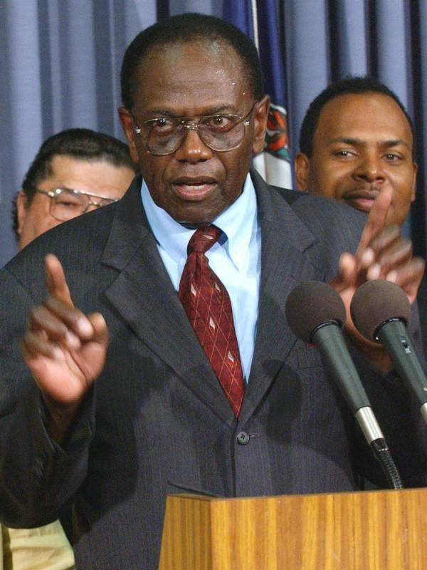 John Stokes, a student protester during the civil rights movement in the 1950's, speaks at a press conference in Richmond, Va., in 2004. As a high school senior in 1951, Stokes was one of the leaders of a student strike, protesting conditions at the all-black Moton High School in Virginia.