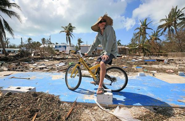 Billy Quinn surveys the concrete slab where his trailer stood at the Seabreeze Trailer Park in Islamorada two days after Irma hit the Lower Keys.