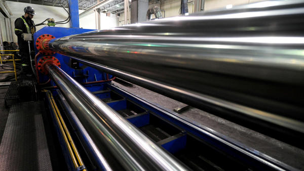 The U.S. is lifting tariffs on Canada's steel imports, nearly a year after imposing the duties. Here, a worker is seen at Bri-Steel Manufacturing, which makes seamless steel pipes, in Edmonton, Alberta, Canada.