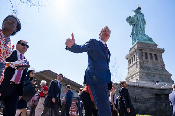 New York Mayor Bill de Blasio arrives for the official dedication ceremony of the Statue of Liberty Museum on Liberty Island Thursday, May 16, 2019, in New York. De Blasio announced Thursday that he will seek the Democratic nomination for president. (Craig Ruttle/AP)