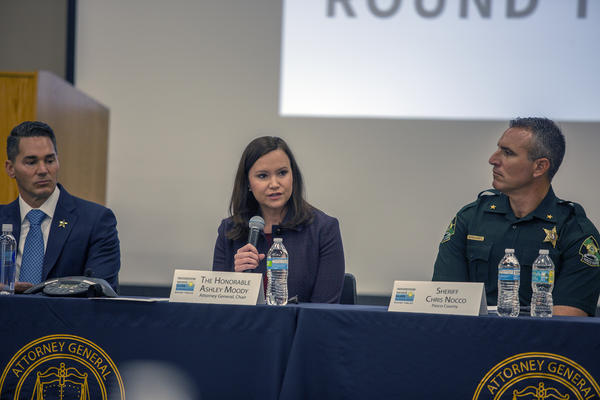 Florida Attorney General Ashley Moody - flanked on both sides by Hillsborough County Sheriff Chad Chronister and Pasco County Sheriff Chris Nocco - led a discussion in Tampa Wednesday about mental health and the criminal justice system.