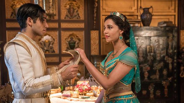 Shining? Sure. Shimmering? Yep. Splendid? Um ...: Aladdin (Mena Massoud) and Jasmine (Naomi Scott) in the latest live-action adaptation of the 1992 animated Disney film.