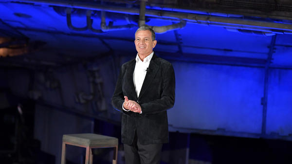 Disney CEO Bob Iger speaks onstage at the Disneyland Resort in Anaheim, Calif., on Wednesday. Iger says Disney may stop filming in the state of Georgia should a new, restrictive abortion law take effect.