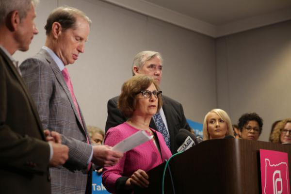 <p>Oregon U.S. Rep. Suzanne Bonamici speaks in support of reproductive rights after a Planned Parenthood event in downtown Portland&nbsp;on Friday, May 31, 2019.</p>