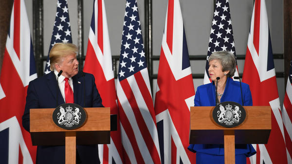 """""""I think Mexico will step up and do what they should have done,"""" President Trump said at a press conference with British Prime Minister Theresa May after a meeting with her at 10 Downing Street."""
