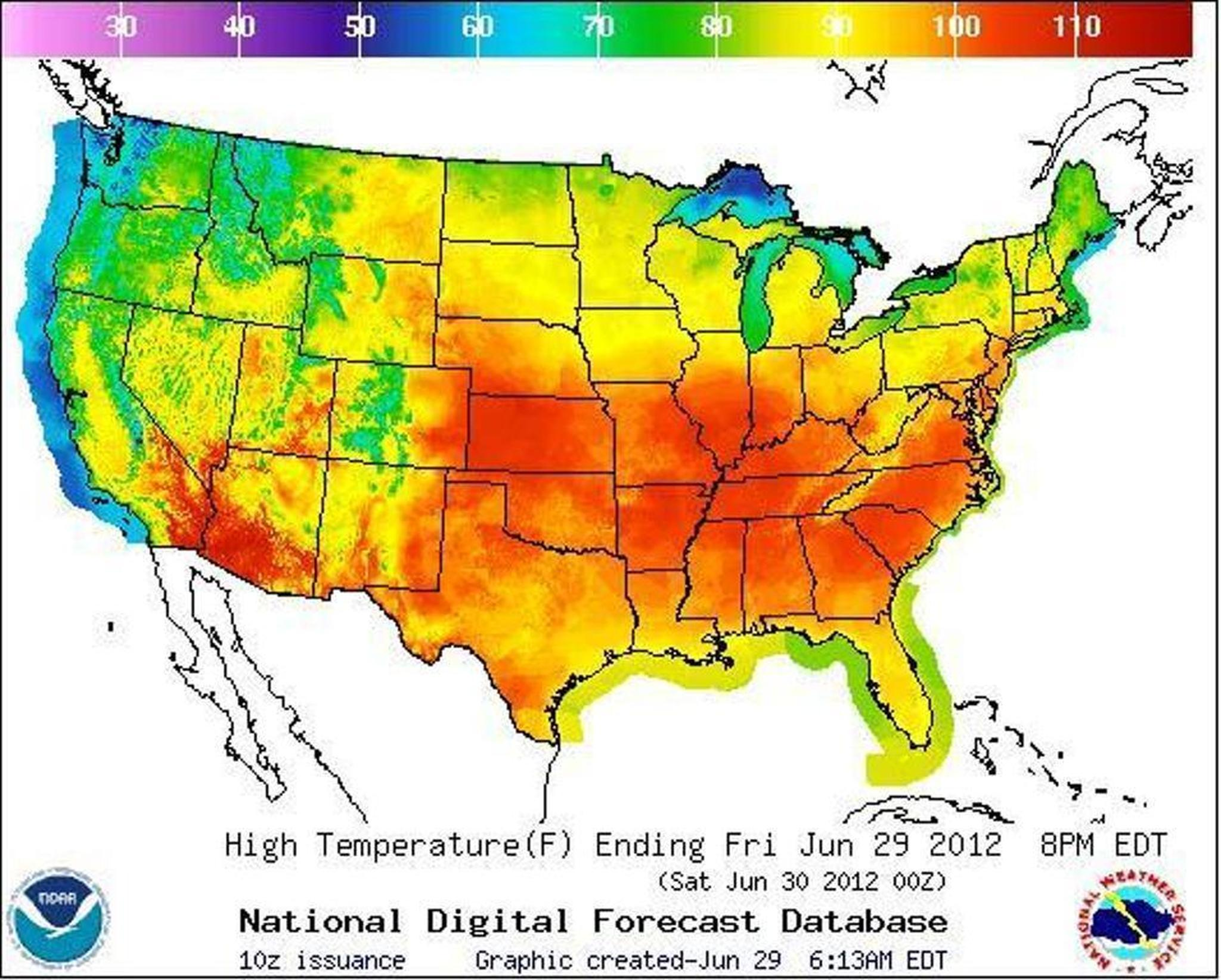 Whew Todays Weather Map Is Hot The Nation Is Baking New - Us weather map temperature forecast