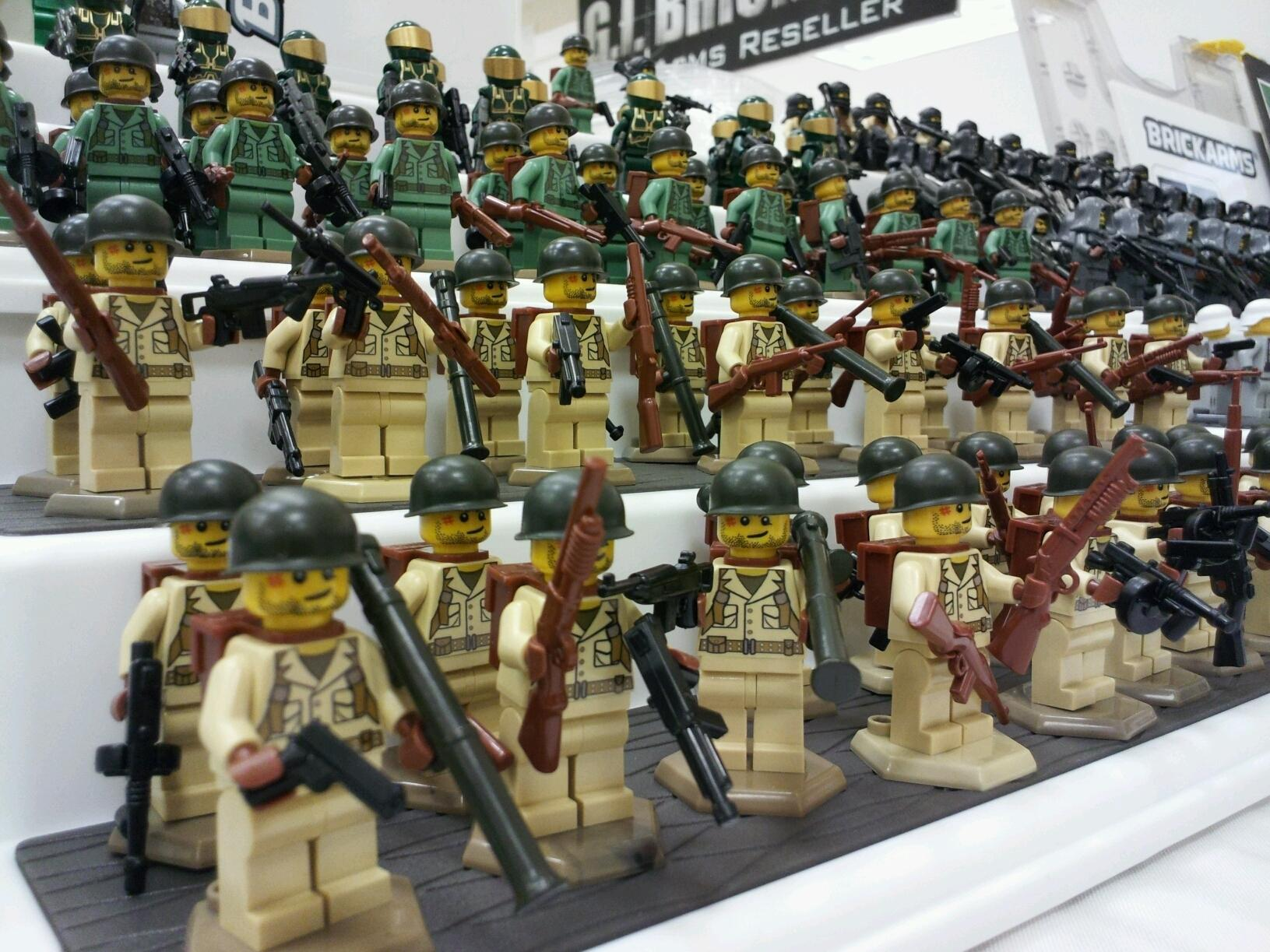 Lego while the helmets and weapons are made by brickarms the