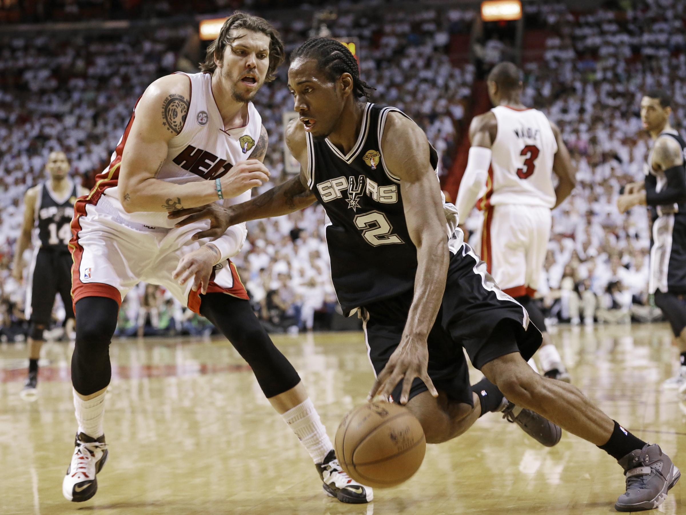 James 6 Of The Miami Heat Shoots In The Lane Against Kawhi ...