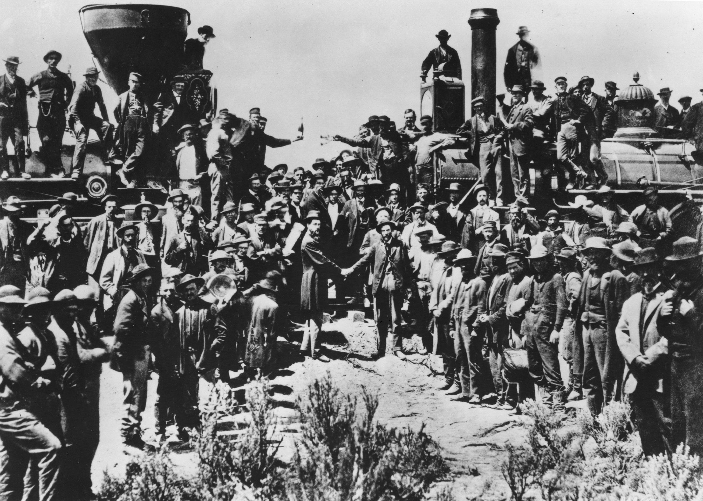 the first transcontinental railroad English: the first transcontinental railroad built across the north american continent in the central and western united states between 1863 and 1869.