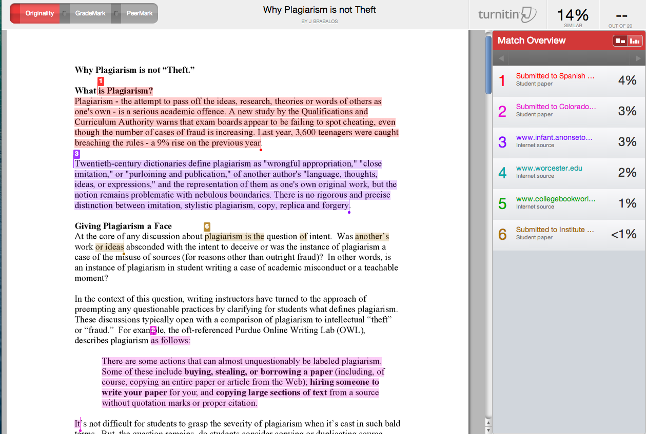 turnitin and the debate over anti plagiarism software kwbu screen shot from a turnitin report