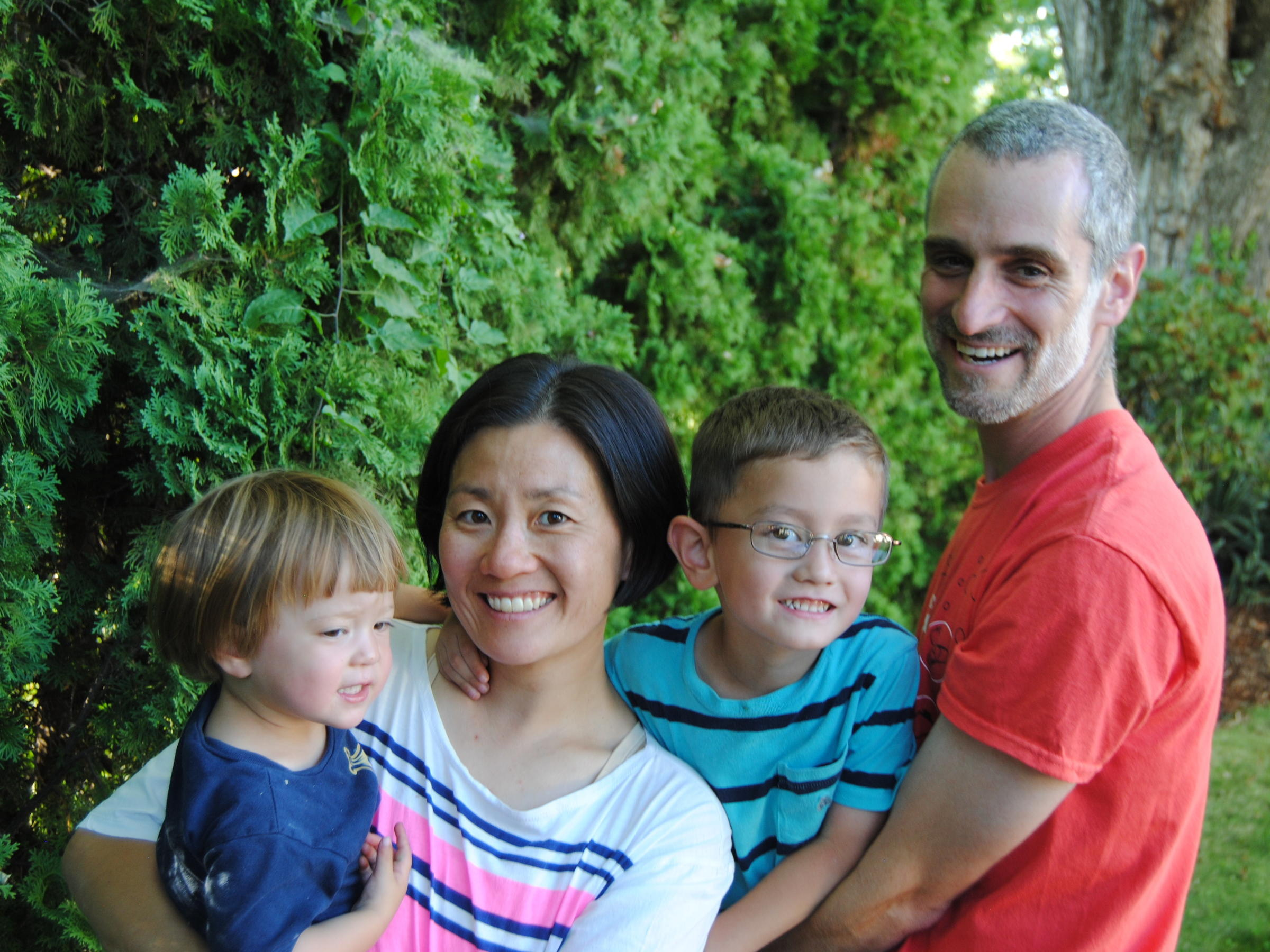 Sociologists Helen Kim And Noah Leavitt With Their Children Talia And Ari