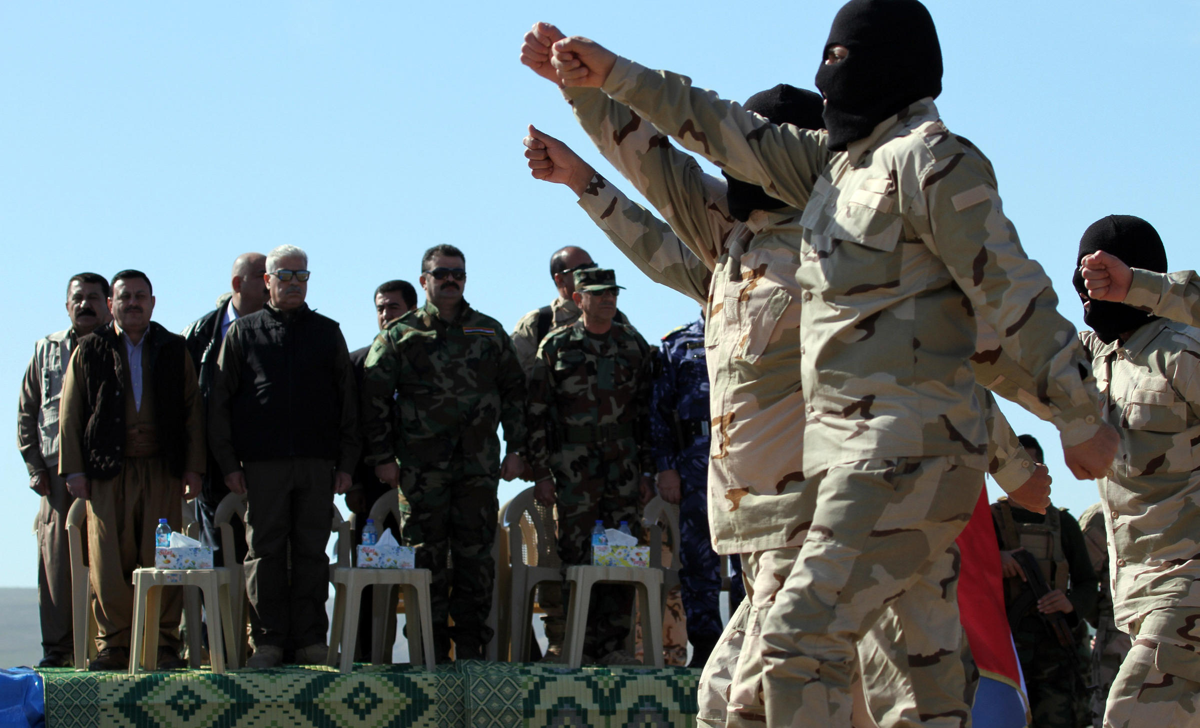 Training to fight isis marched northeast of mosul in northern iraq