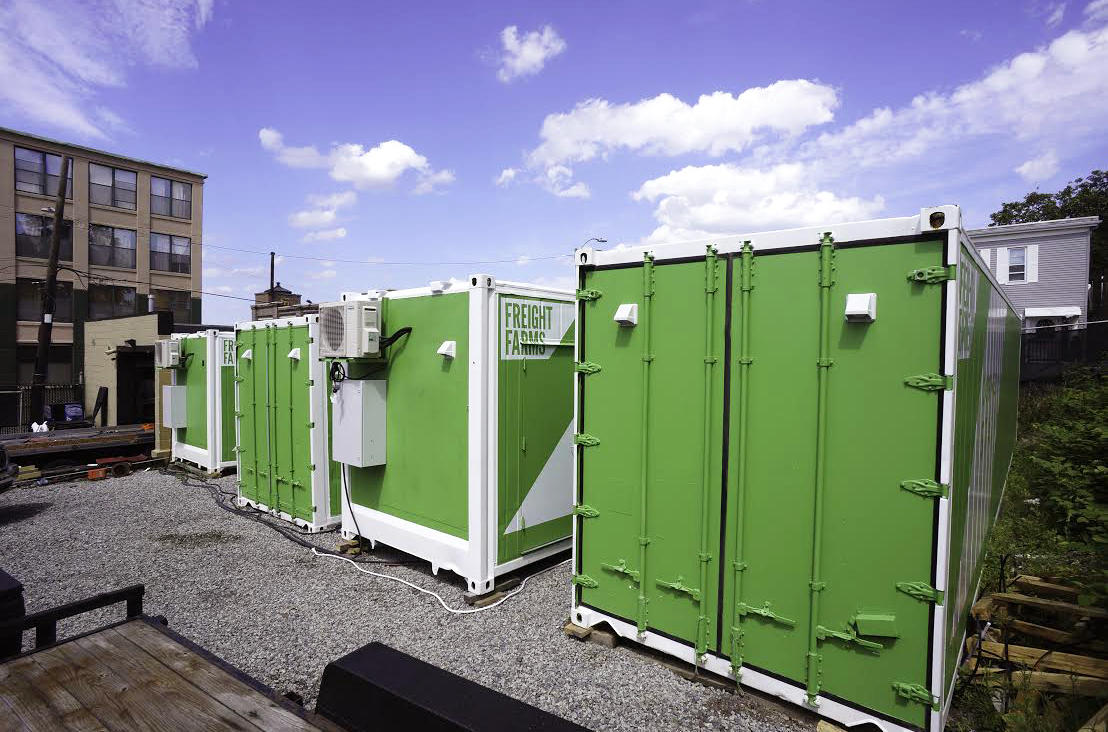 Freight farms how boston gets local greens even when for Tall shipping container