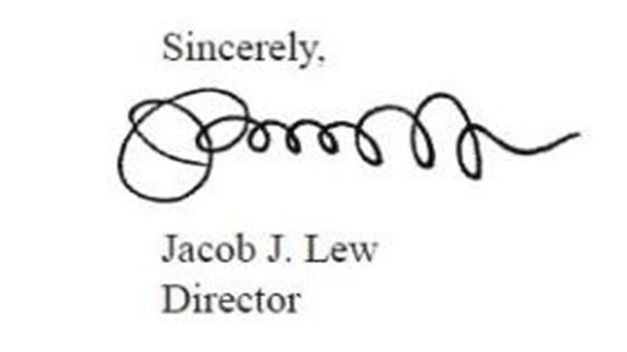 """Jacob """"Jack"""" Lew's signature, on the 2012 """"Mid-Session Review"""" of the"""