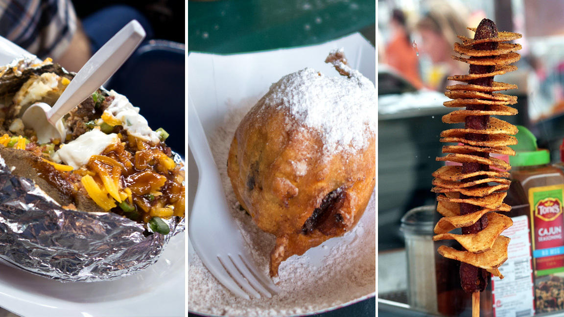 concessions include the loaded potato; deep-fried chocolate cupcake ...