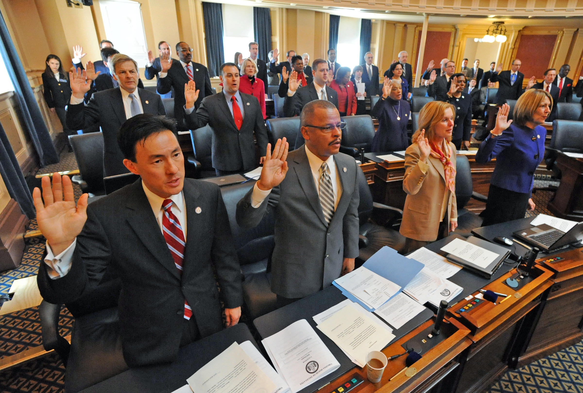 Mark Keam (left) Is Sworn In As A Freshman Delegate To The Virginia General  Assembly In 2010 In Richmond, Va Keam Was The First Asianamerican  Immigrant