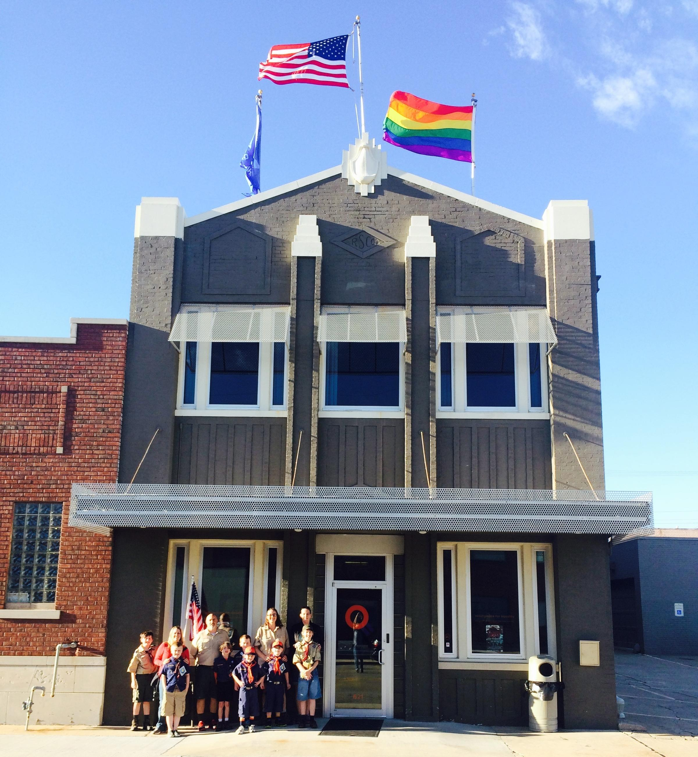A rainbow flag flies above the Oklahomans for Equality community center in Tulsa Okla. where Andy Grimes\u0027 Cub Scout pack gathers for meetings. & Boy Scouts Open Doors To Gay Leaders \u2014 But They\u0027re In No Rush | KUNR