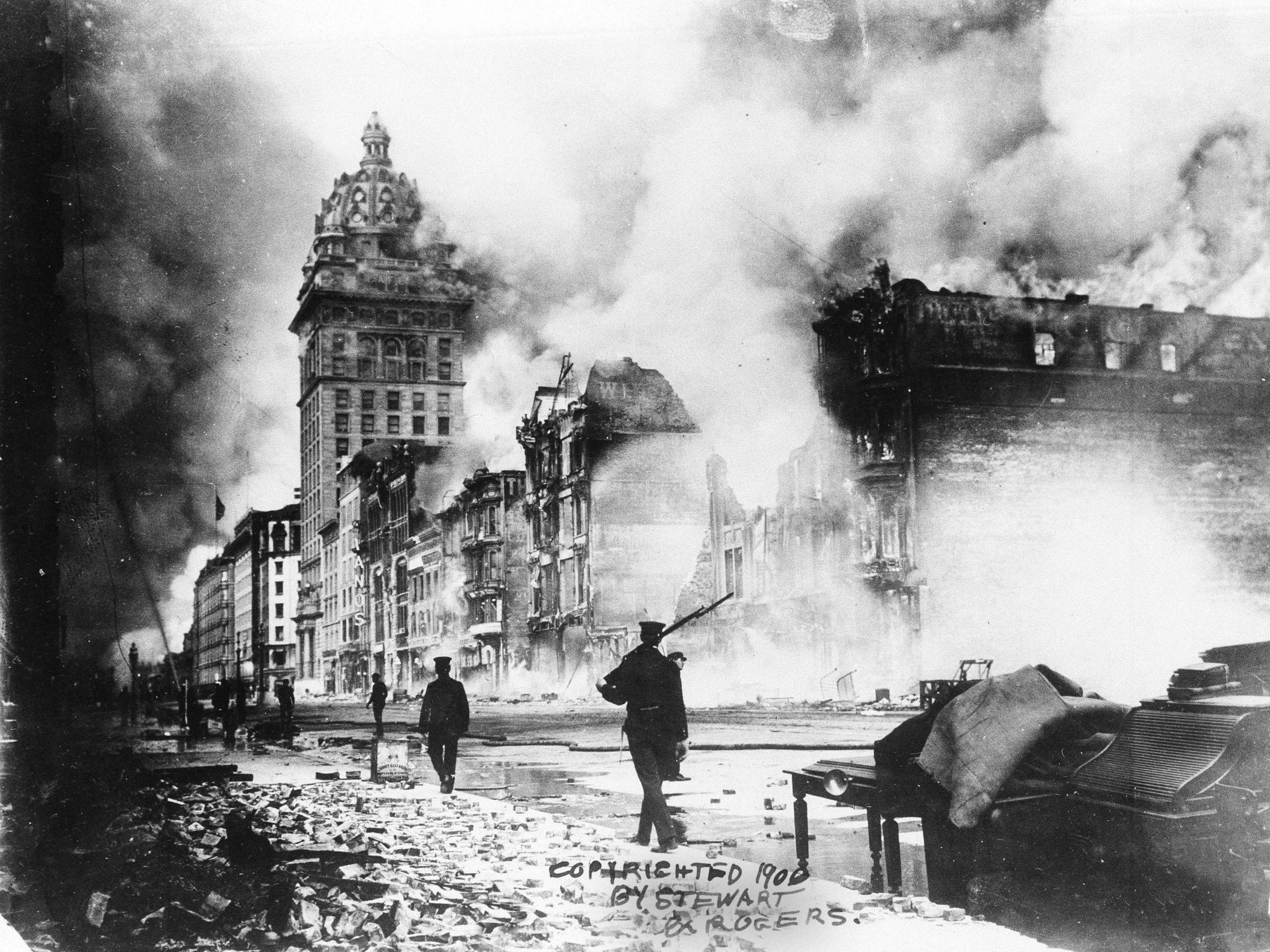 the great 1906 san francisco earthquake There are two reasons for this one is the time between quakes on these two faults the 1868 earthquake on the hayward fault was considered the ``great san francisco earthquake'' until the.