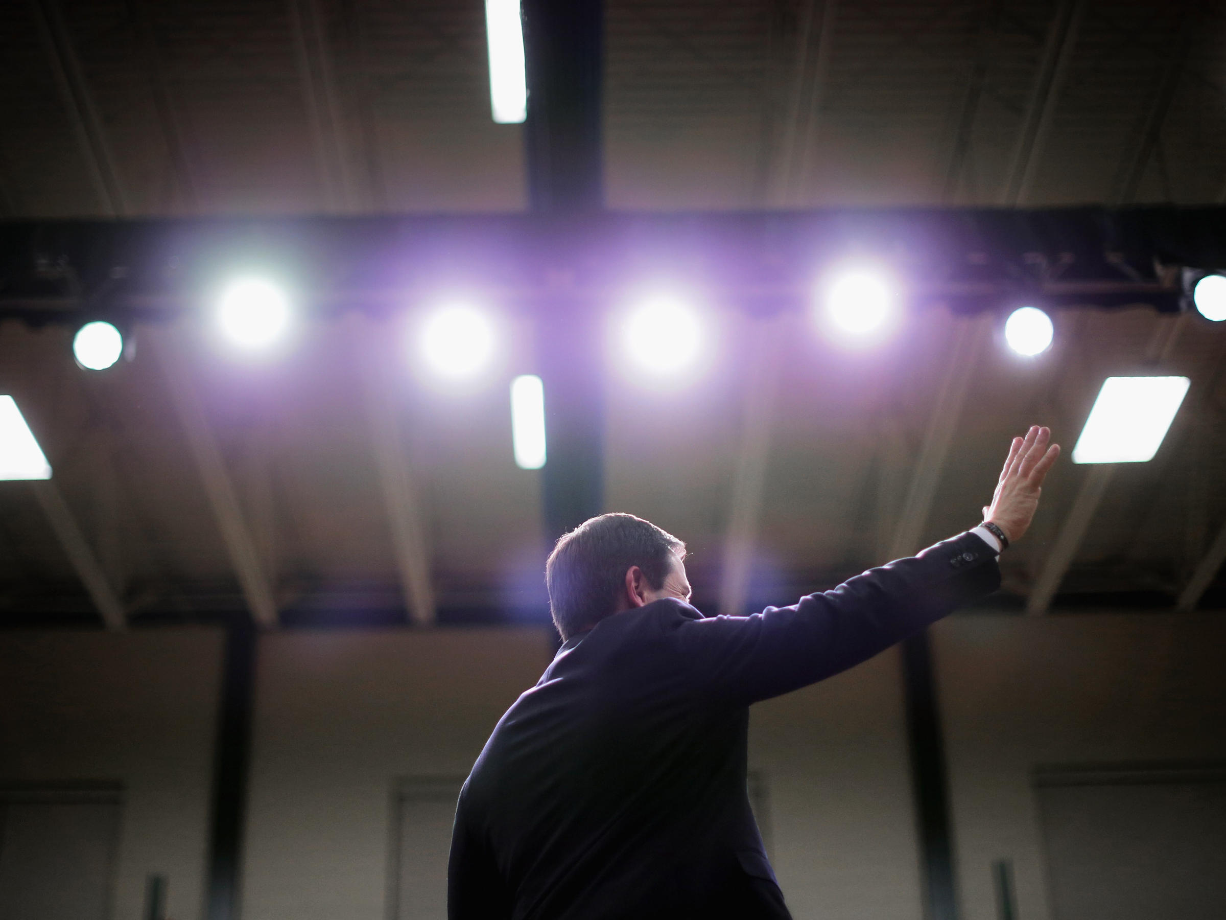 ... speaks Monday at his final rally before the New Hampshire primary