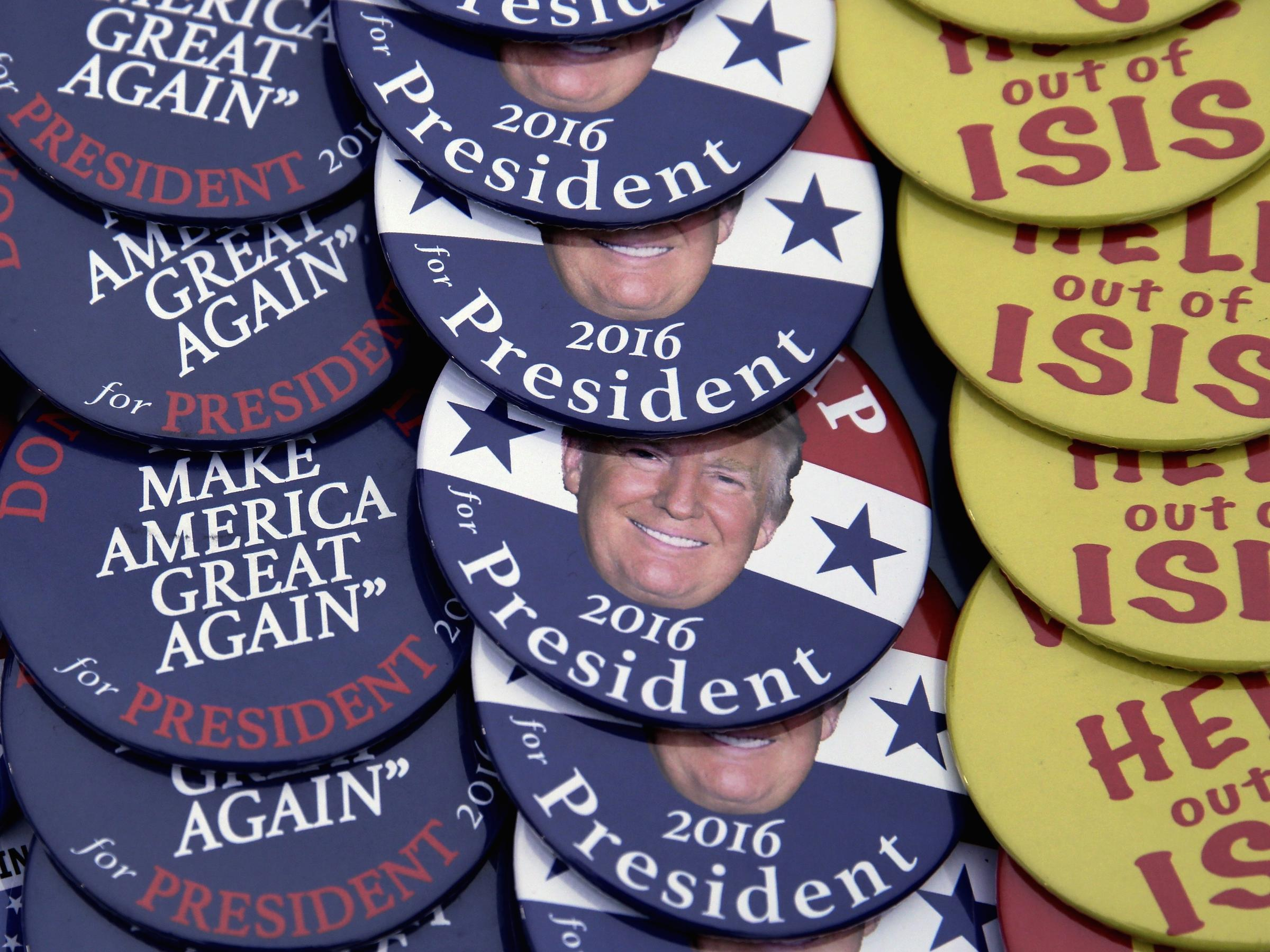 Pro-Donald Trump campaign buttons are displayed for sale at an Elks ...