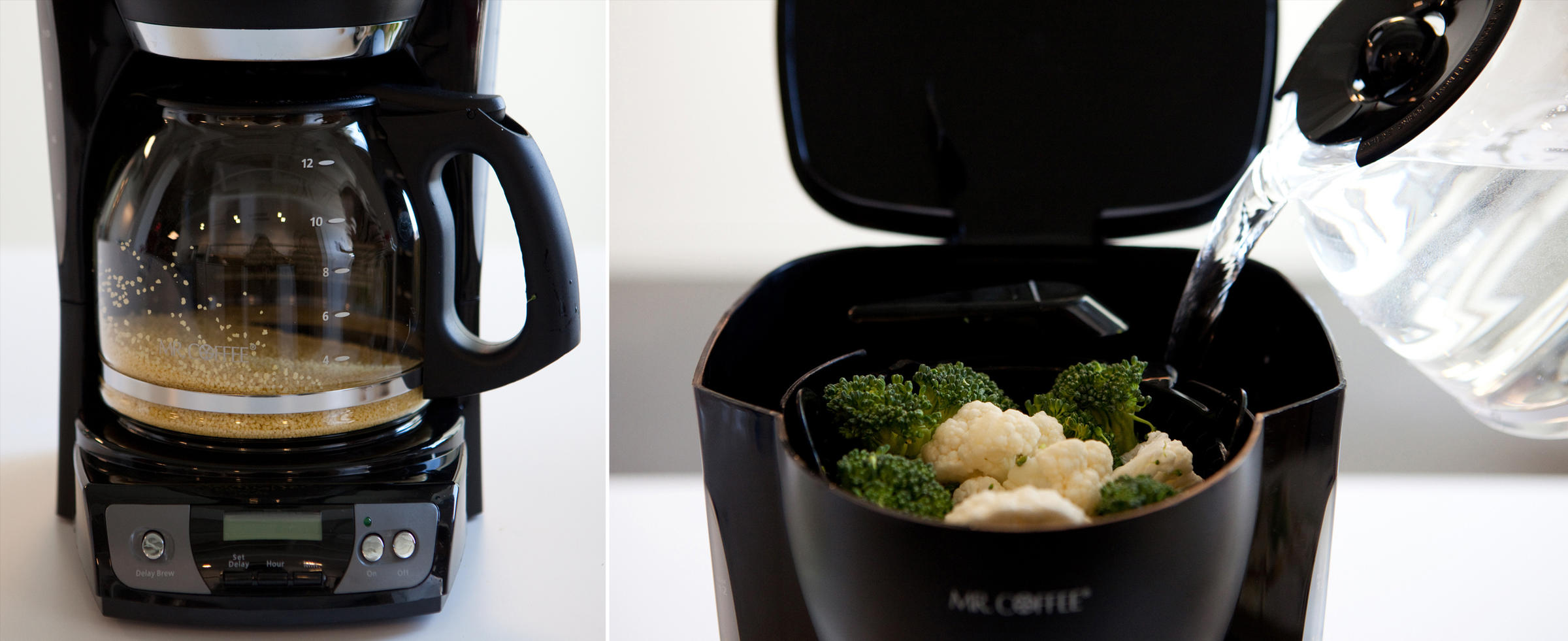 Parallel Processing Couscous Cooks In The Coffee Maker S Carafe While Broccoli And Cauliflower Steam Basket