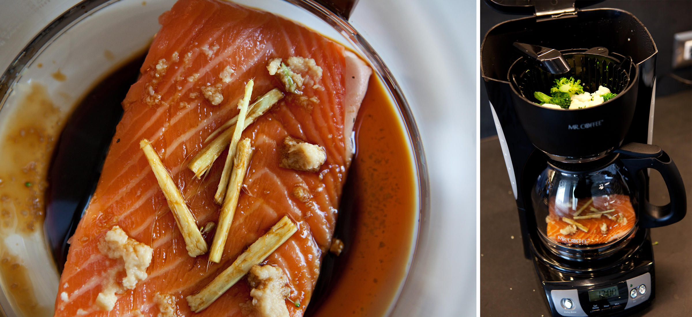 slice of salmon with ginger, garlic and soy sauce sits in the coffee ...