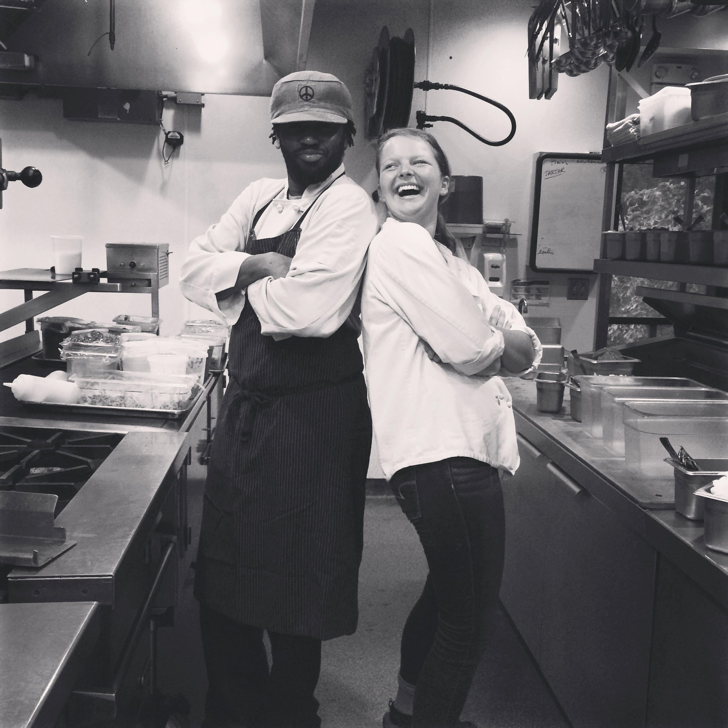 the writer rachael cusick is pictured with chef oneil wilson her co worker in the kitchen during a summer job as a line cook during the breakfast shift - Line Cook Jobs