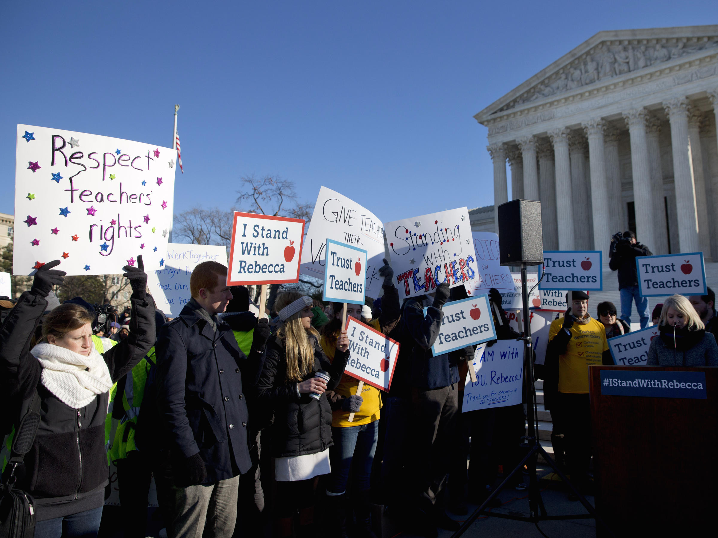 People rally at the Supreme Court in Washington in January, as the ...