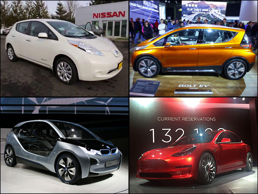 file photos of mid market electric cars clockwise from top left nissan leaf chevy bolt tesla model 3 and bmw i3