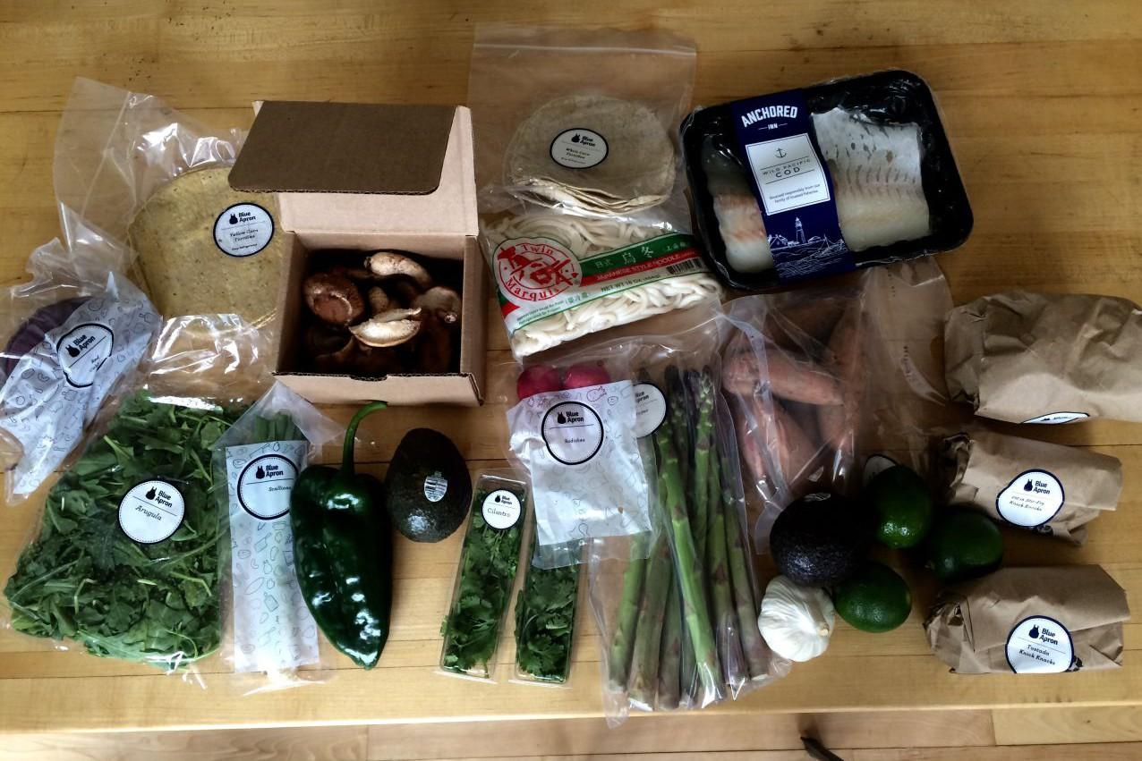 Blue apron weight watchers points - Ingredients And Packaging From A Blue Apron Meal Box For Three Meals Kathy Gunst Here Now