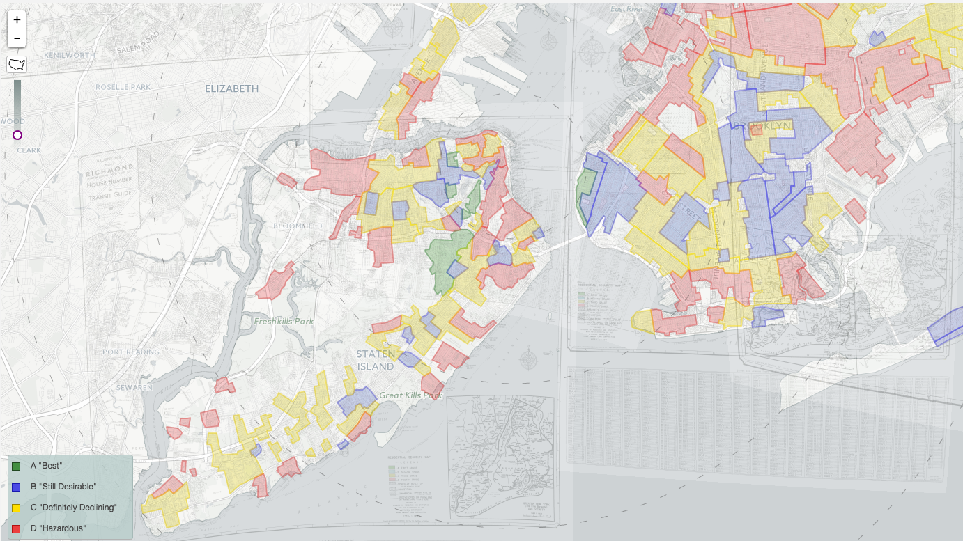 overlapping maps of the five boroughs of new york were combined in mapping inequality to show redlining across the entire city