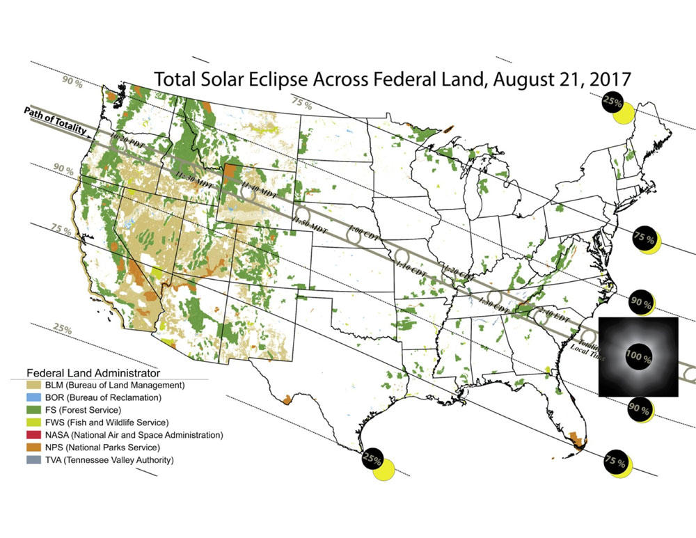 Rooms Campsites Going Fast Under Path Of Total Solar Eclipse - Us total eclipse 2017 map