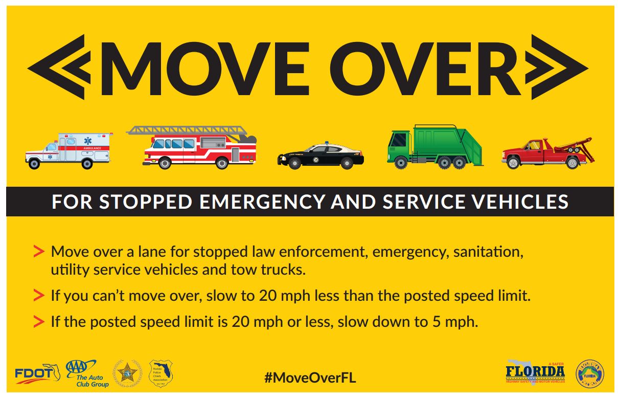 State Agencies Reminding Drivers Of Florida 39 Move Over 39 Law Wgcu News