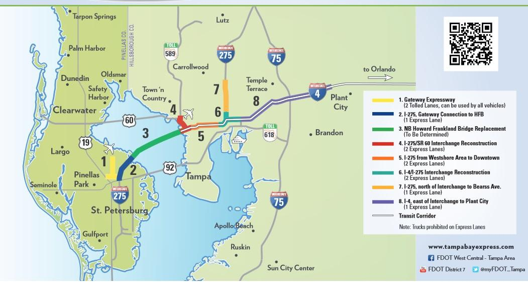 Florida Toll Roads Map.Bill To Ban Toll Express Lanes Hits Roadblock In Tallahassee Wlrn