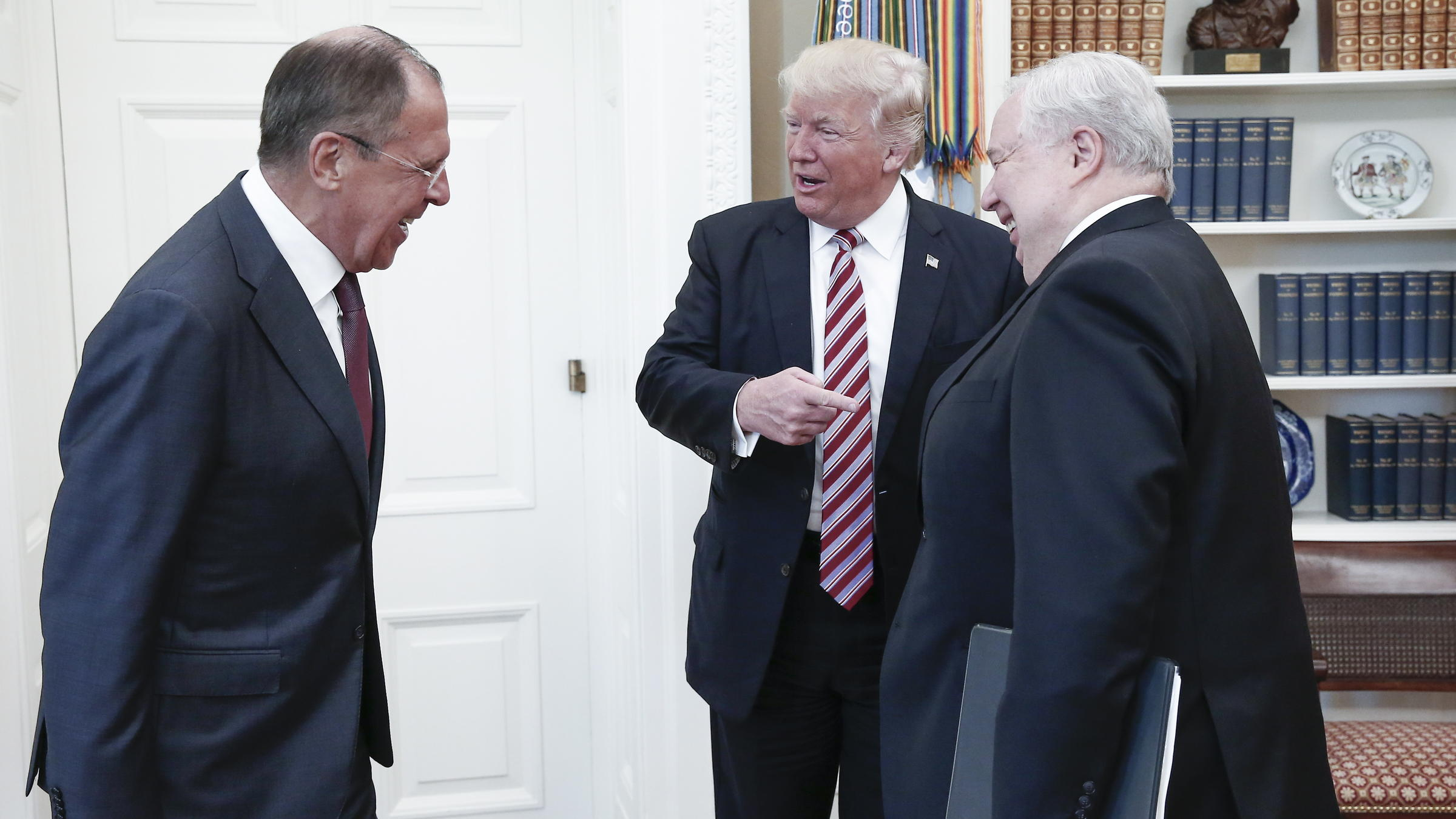 Trump hosts russian foreign minister lavrov and ambassador kislyak president trump gestures to russias ambassador to the us sergey kislyak as he speaks to russian foreign minister sergey lavrov in the oval office on kristyandbryce Images