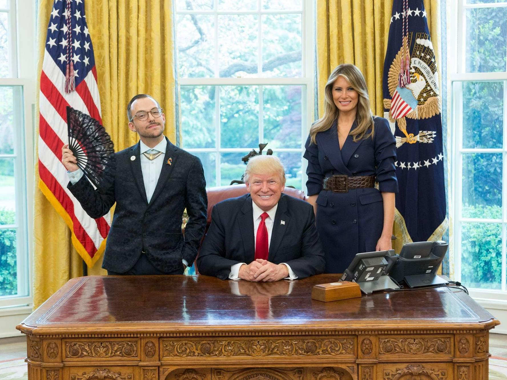 Teacher's photo showing LGBT pride next to Trump goes viral