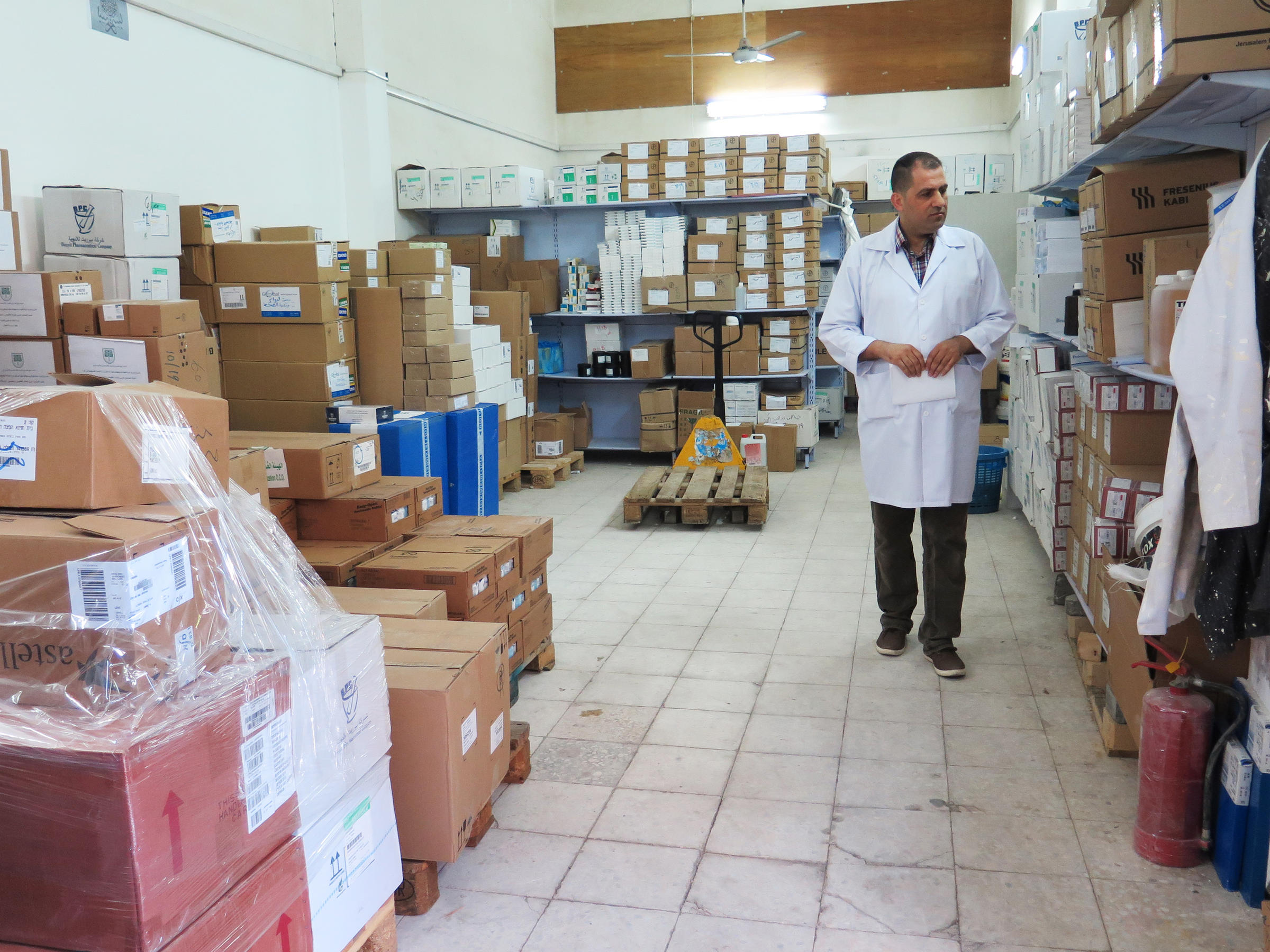 Nael Skaik the pharmacy director at Gaza's main hospital says this medicine storage room is usually so full of boxes of medicines that it's hard to find space to walk. Now medicines are running out as Palestinian Authority President Mahmoud Ab