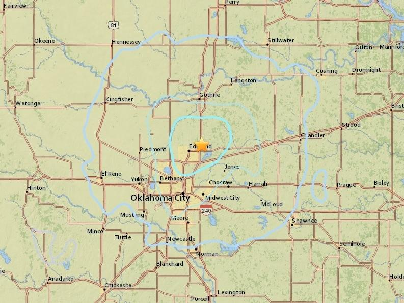Moderate quake  shakes central Oklahoma