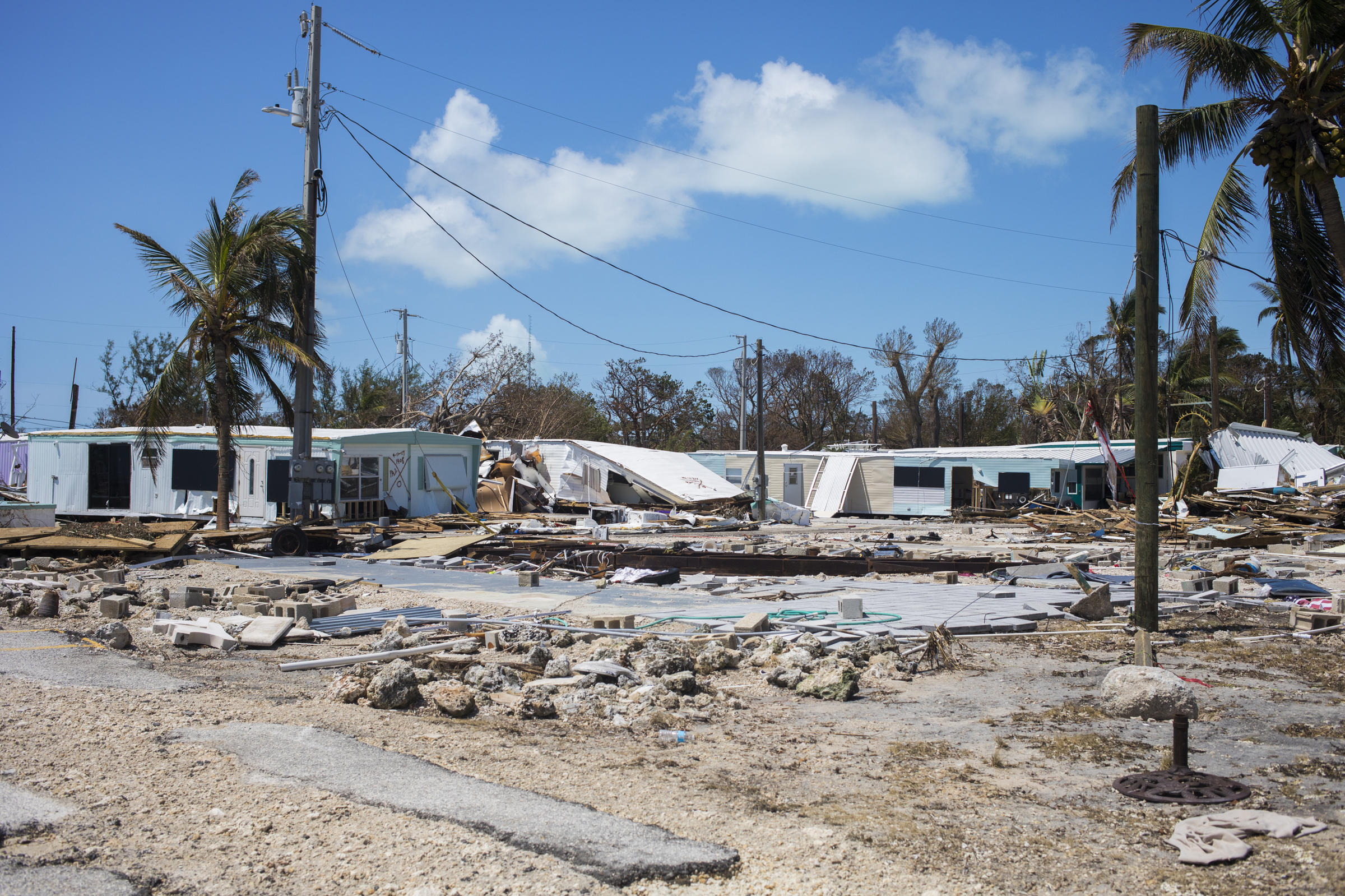 Hurricane Irma nearly demolished the Sea Breeze Mobile Home Community in Islamorada Fla. making the area unlivable