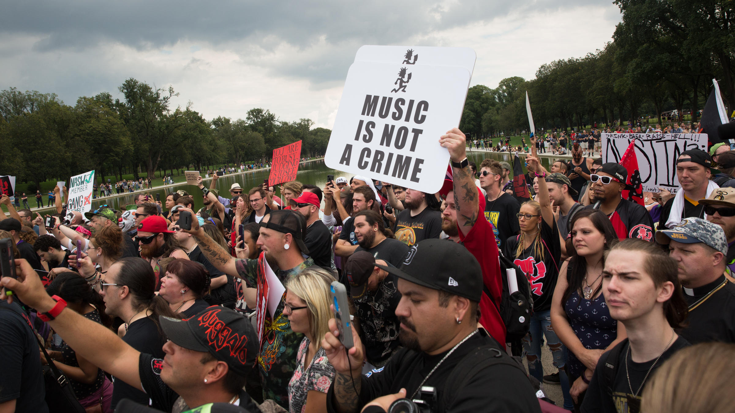 People gather at the Lincoln Memorial in Washington D.C. for Saturday's Juggalo March
