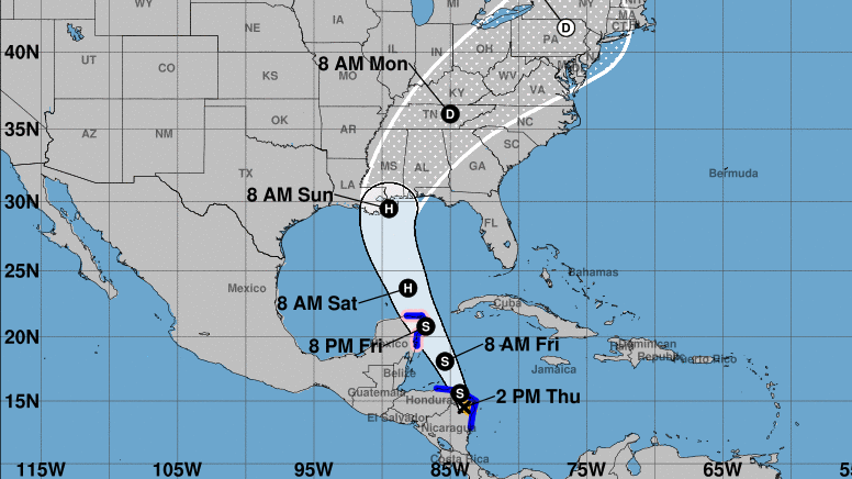 Tropical Storm Nate Is Predicted To Hit US Gulf Coast As A - Us gulf coast map