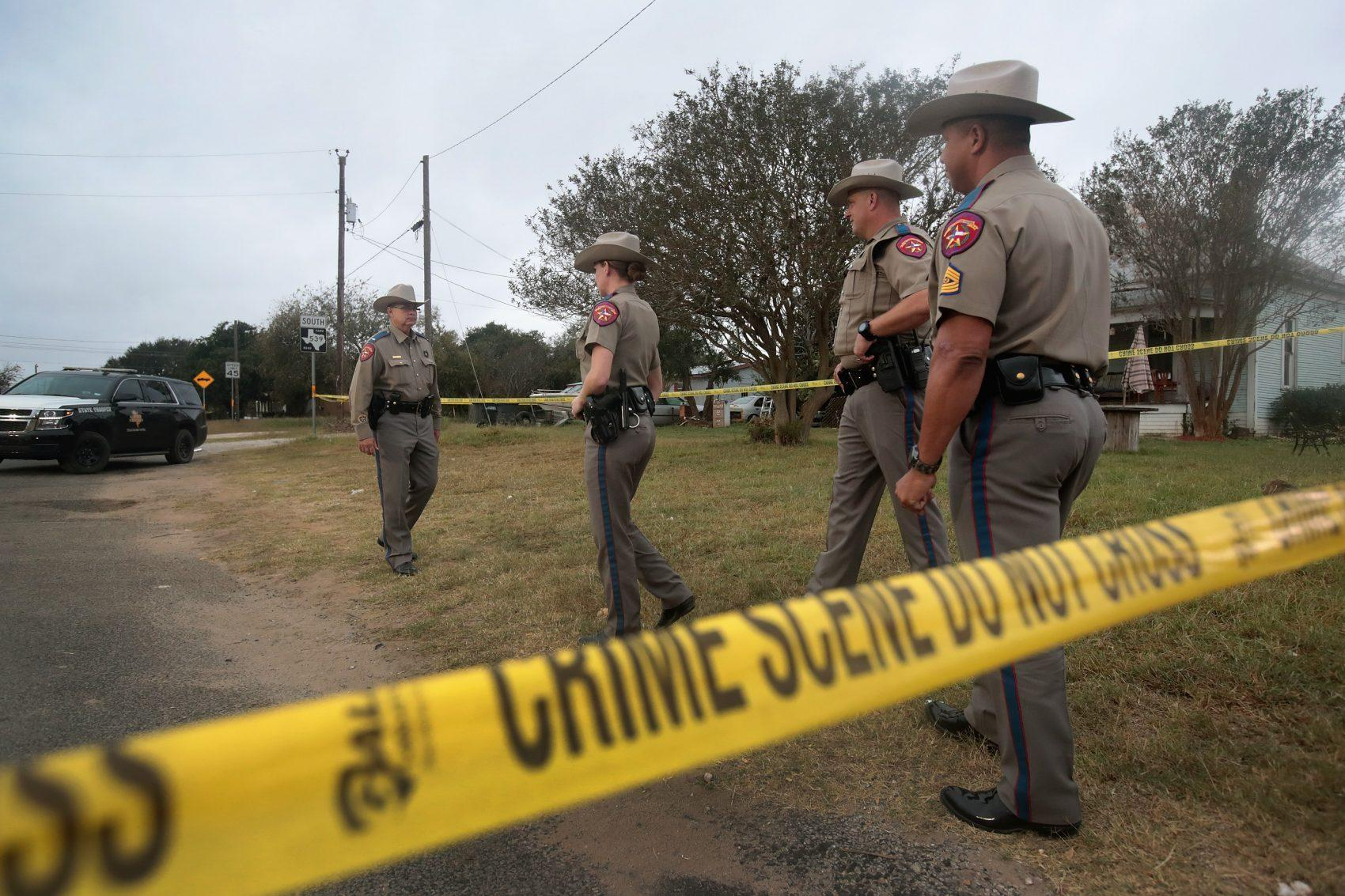 Law enforcement officials continue their investigation into the shooting at the First Baptist Church of Sutherland Springs on Nov 7 2017 in Sutherland Springs Texas