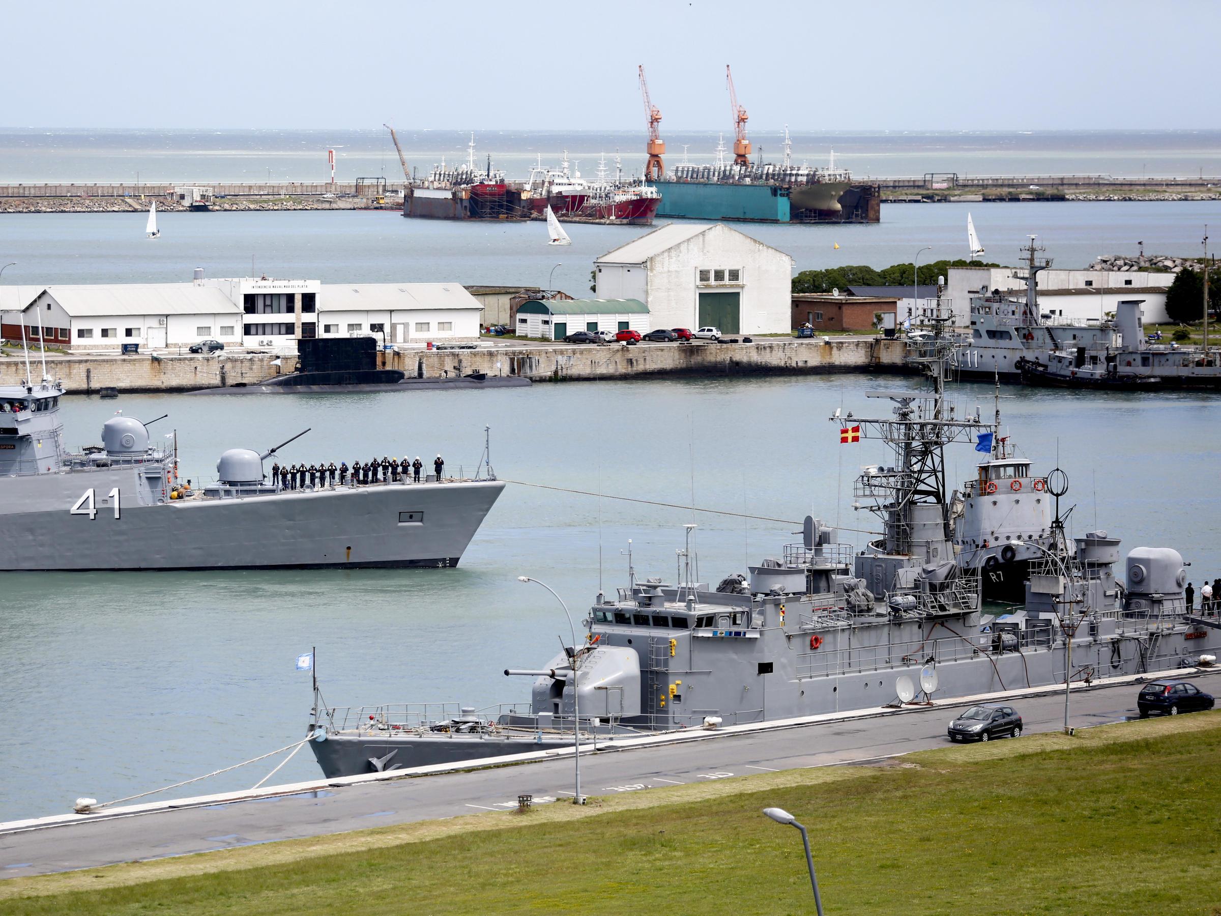 The naval base at Mar del Plata Argentina shown on Saturday